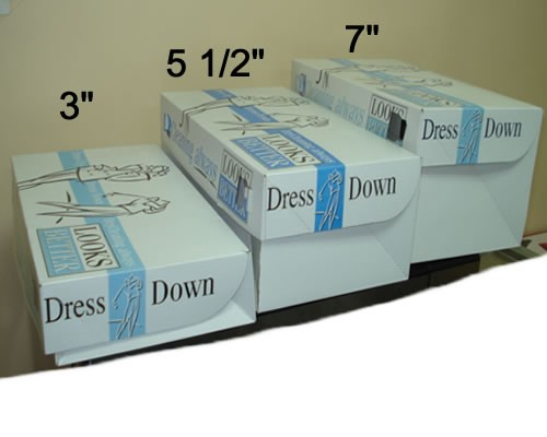 "SHIRT BOXES AVAILABLE IN 3"", 5 1/2"", AND 7"